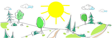 Illustration pour Summer Landscape Mountain Forest Road Sun Green Grass Tree Woods Sketch Simple Line Child Hand Drawing Vector Illustration - image libre de droit