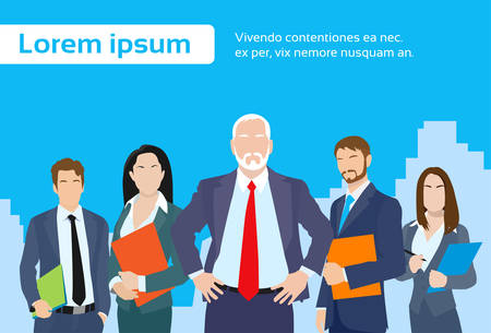 Photo pour Senior Businessmen Boss with Group of Business People Team Flat Vector Illustration - image libre de droit