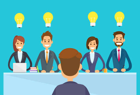 Illustration pour Business People Idea Concept Light Bulb Sitting Office Desk, Businesspeople Boss Team Group Conference Meeting Flat Vector Illustration - image libre de droit