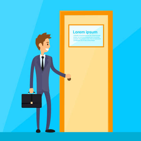 Illustration for Businessman Stand Hold Handle Open Door Concept Flat Vector Illustration - Royalty Free Image