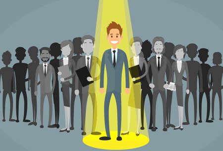Illustration pour Businessman Spotlight Human Resource Recruitment Candidate, Business People Hire Concept Flat Vector Illustration - image libre de droit