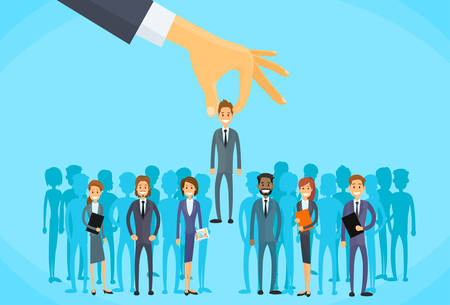 Illustration pour Recruitment Hand Picking Business Person Candidate People Group Flat Vector Illustration - image libre de droit