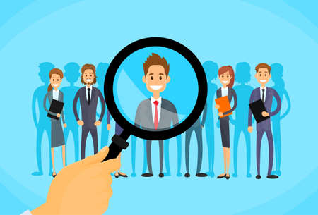 Illustration pour Recruitment Hand Zoom Magnifying Glass Picking Business Person Candidate People Group Flat Vector Illustration - image libre de droit