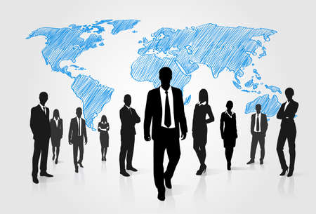 Illustration pour Business People Group Silhouette Over World Global Map Businesspeople Internation Team Walk Forward Vector Illustration - image libre de droit