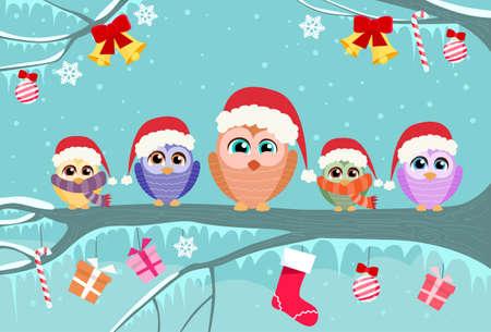 Ilustración de Christmas Owl Sitting on Tree Branch Decoration Gift Box Winter Flat Vector Illustration - Imagen libre de derechos