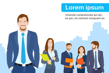 Illustration pour Businessmen Leader Boss with Group of Business People Team Flat Vector Illustration - image libre de droit