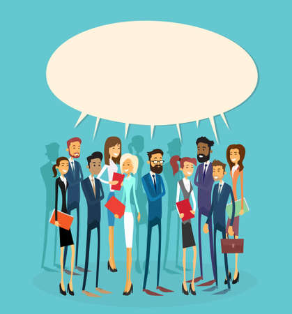 Illustration pour Business People Group Chat Communication Bubble Concept, Businesspeople Talking Discussing Communication Social Network Flat Vector Illustration - image libre de droit