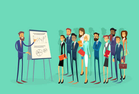 Illustration pour Business People Group Presentation Flip Chart Finance, Businesspeople Team Training Conference Meeting Flat Vector Illustration - image libre de droit