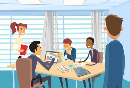 Illustration pour Business People Meeting Discussing Office Desk Business people Working Illustration - image libre de droit