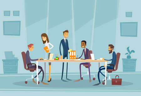 Illustration for Business People Meeting Discussing Office Desk Business people Working Flat Illustration - Royalty Free Image