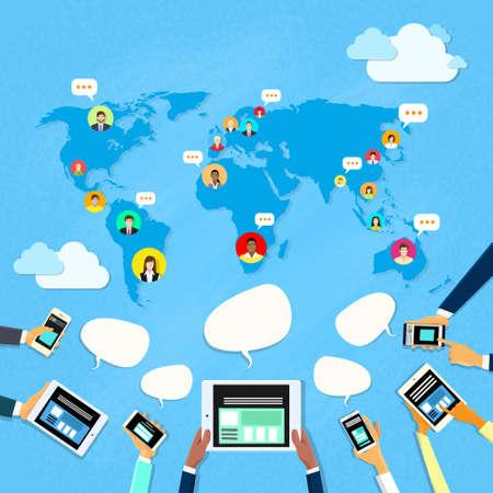 Illustration pour Social Media Communication World Map Concept Internet Network Connection People Flat Vector Illustration - image libre de droit