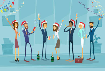 Illustration pour Businesspeople Celebrate Merry Christmas And Happy New Year Office Business People Team Santa Hat Flat Vector Illustration - image libre de droit