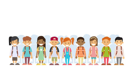 Illustration for Children Group Mix Race Standing In Line Flat Vector Illustration - Royalty Free Image