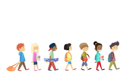 Ilustración de Children Group Walking School Students Go Isolated Flat Vector Illustration - Imagen libre de derechos