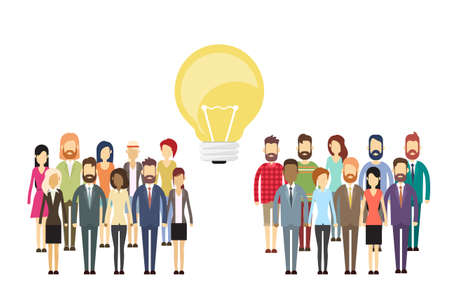 Illustration pour Business People Group Idea Concept Light Bulb, Businesspeople Crowd Flat Silhouette Full Length Vector Illustration - image libre de droit