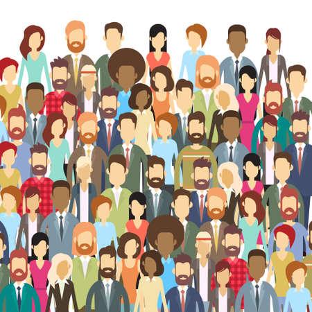 Ilustración de Group of Business People Face Big Crowd Businesspeople Flat Vector Illustration - Imagen libre de derechos