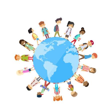 Ilustración de Children Group Standing Around Globe World Unity Concept Vector Illustration - Imagen libre de derechos