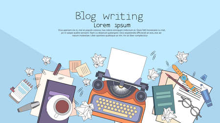 Illustration for Typewriter Author Writer Workplace Desk Top Angle View Copy Space Illustration - Royalty Free Image