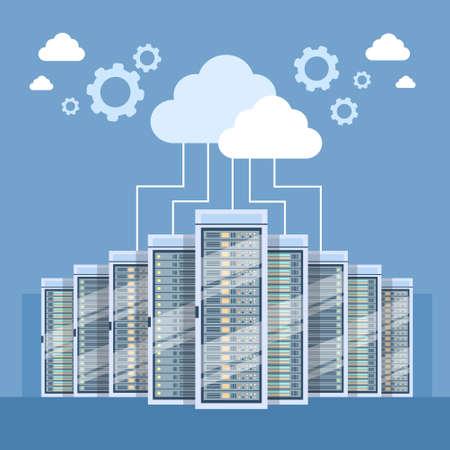 Illustration pour Data Center Cloud Connection Hosting Server Computer Information Database Synchronize Technology Flat Vector Illustration - image libre de droit