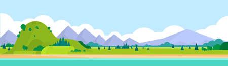 Illustration pour Mountain Range Summer Landscape Horizontal Banner Illustration - image libre de droit