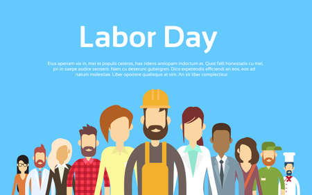 Illustration pour People Group Different Occupation Set, International Labor Day Flat Vector Illustration - image libre de droit