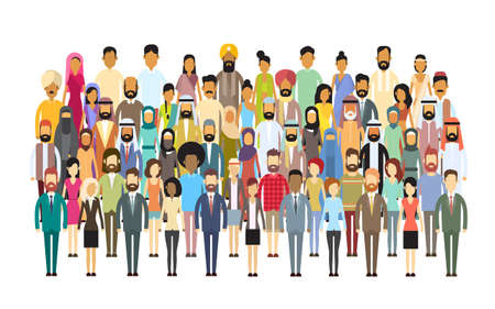 Illustration pour Group of Business People Big Crowd Businesspeople Mix Ethnic Diverse Flat Vector Illustration - image libre de droit