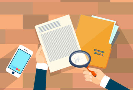 Illustration for Business Hand Hold Magnifying Glass Offshore Panama Papers Folder Documents Office Desk Vector Illustration - Royalty Free Image