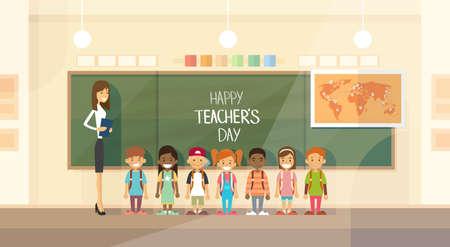 Illustration pour Teacher Day Holiday Class School Children Group Flat Vector Illustration - image libre de droit