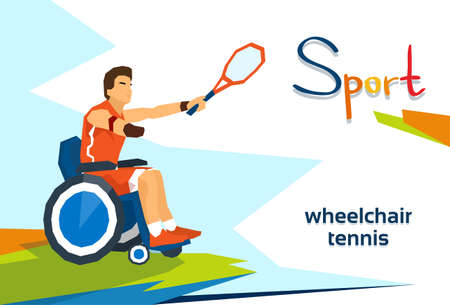 Disabled Athlete On Wheelchair Play Tennis Sport Competition Flat Vector Illustration
