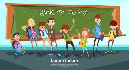 Illustration pour Schoolchildren Group Over Class Board Back To School Banner Flat Vector Illustration - image libre de droit
