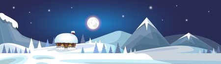 Illustration pour Winter Mountain Landscape White Snow Banner Flat Vector Illustration - image libre de droit