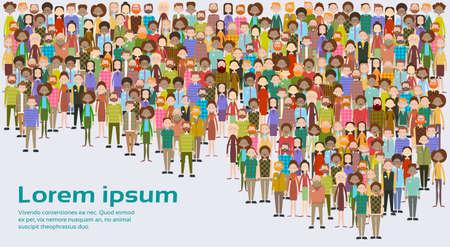 Ilustración de Group of Business People Big Crowd Businesspeople Mix Ethnic Diverse Flat Vector Illustration - Imagen libre de derechos