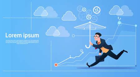 Business Man Run With Umbrella Security Concept Flat Vector Illustration