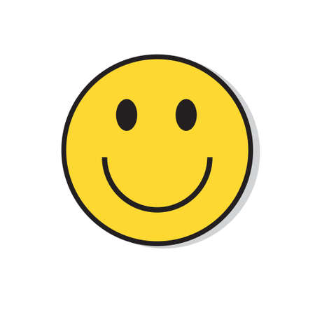Illustrazione per Yellow Smiling Face Positive People Emotion Icon Flat Vector Illustration - Immagini Royalty Free