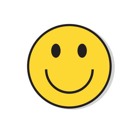Ilustración de Yellow Smiling Face Positive People Emotion Icon Flat Vector Illustration - Imagen libre de derechos