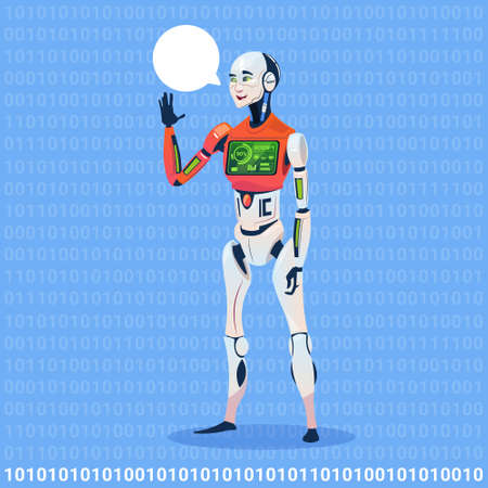 Illustration pour Modern Robot Show Chat Bubble Message With Full Battery Charge Futuristic Artificial Intelligence Technology. - image libre de droit