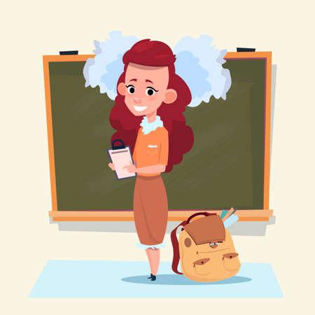 Illustration pour Small School Girl Standing Over Class Board Schoolgirl Education Banner Flat Vector Illustration - image libre de droit