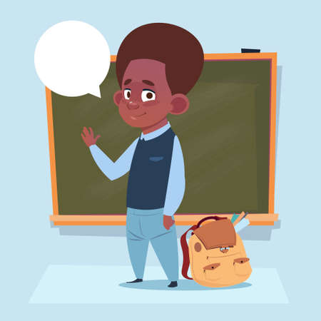 Illustration pour Small African American School Boy Standing Over Class Board Schoolboy Education Banner Flat Vector Illustration - image libre de droit