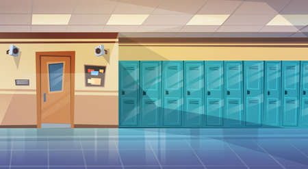 Photo pour Empty School Corridor Interior With Row Of Lockers Horizontal Banner Flat Vector Illustration - image libre de droit