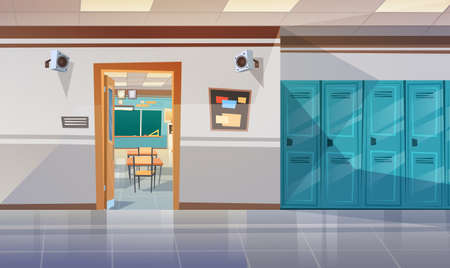 Photo pour Empty School Corridor With Lockers Hall Open Door To Class Room Flat Vector Illustration - image libre de droit