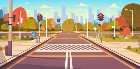 Illustration pour Road Empty City Street With Crosswalk And Traffic Lights Flat Vector Illustration - image libre de droit