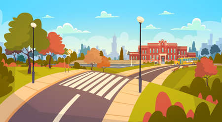 Illustration for Street Landscape Modern School Building Exterior With Crosswalk Welcome Back To Education Concept Concept Flat Vector Illustration - Royalty Free Image