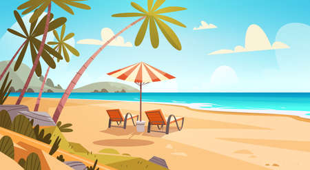 Illustration for Summer Vacation Loungers On Sea Beach Landscape Beautiful Seascape Banner Seaside Holiday Vector Illustration - Royalty Free Image