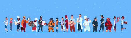 Illustration for People Group Different Occupation Set, Employees Mix Race Workers Banner Flat Vector Illustration - Royalty Free Image