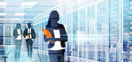 Illustration pour Silhouette People Working In Data Center Room Hosting Server Computer Information Database Flat Vector Illustration - image libre de droit