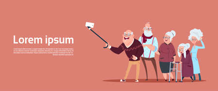 Illustrazione per Group Of Senior People Taking Selfie Photo With Self Stick Modern Grandfather And Grandmother Flat Vector Illustration - Immagini Royalty Free