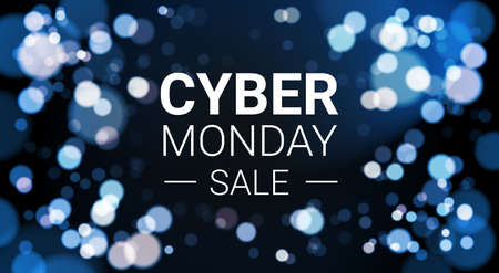 Illustration for Cyber Monday Sale Flyer Design With White Lights Bokeh On Blue Background Holiday Discount Poster Banner Vector Illustration - Royalty Free Image
