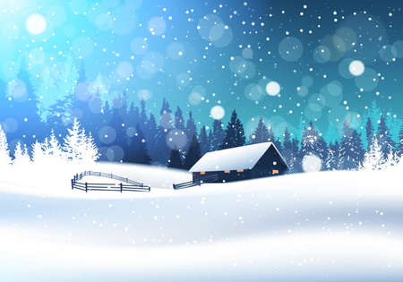 Illustration for Beautiful Winter Landscape With House In Snowy Forest Banner Flat Vector Illustration - Royalty Free Image
