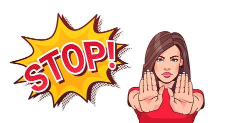 Illustration pour Woman Gesturing No Or Stop Sign Showing Raised Palms Vector Illustration - image libre de droit