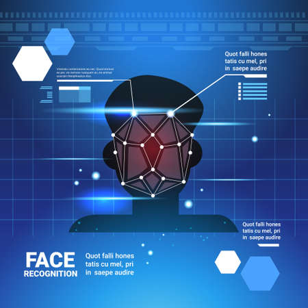 Ilustración de Face Identification System Scannig Man Access Control Modern Technology Biometrical Recognition Concept Vector Illustration - Imagen libre de derechos
